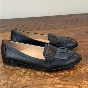 Shoemint Caroline Black Fringed Loafers Size 7.5